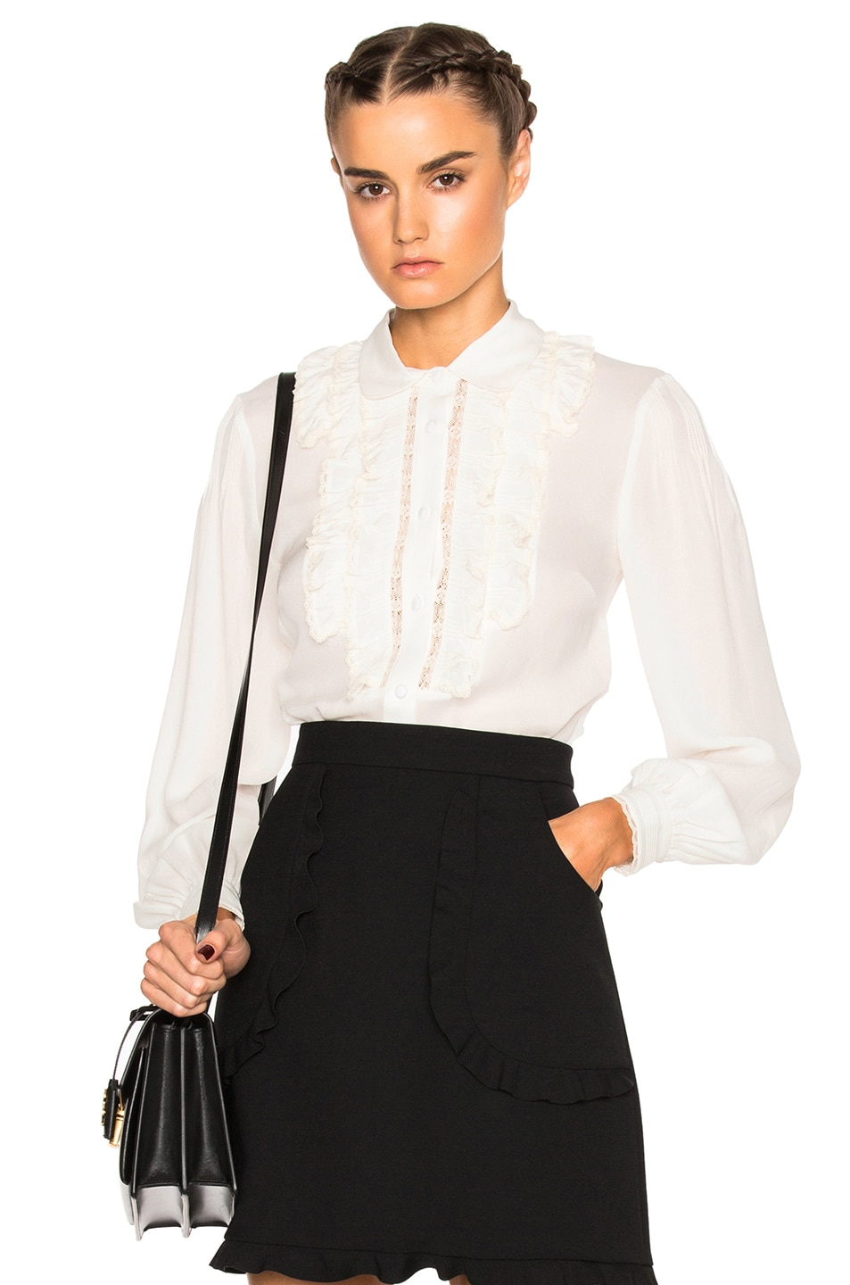 Image 1 of Red Valentino Collared Ruffle Top in Ivory