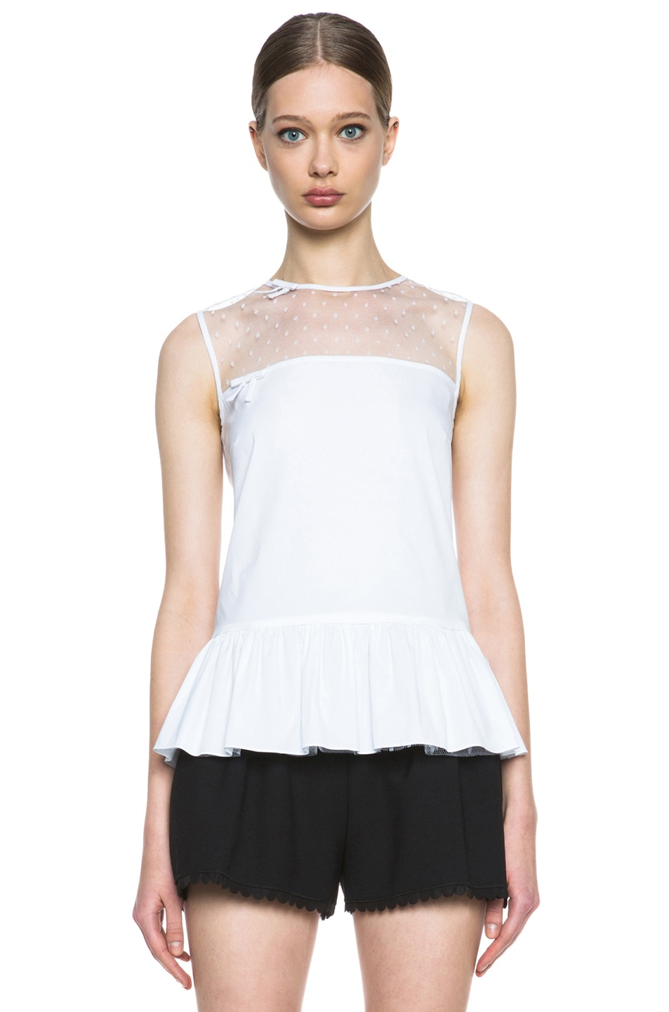 Image 1 of Red Valentino Sheer Inset Polyamide Tank with Ruffled Bottom in White