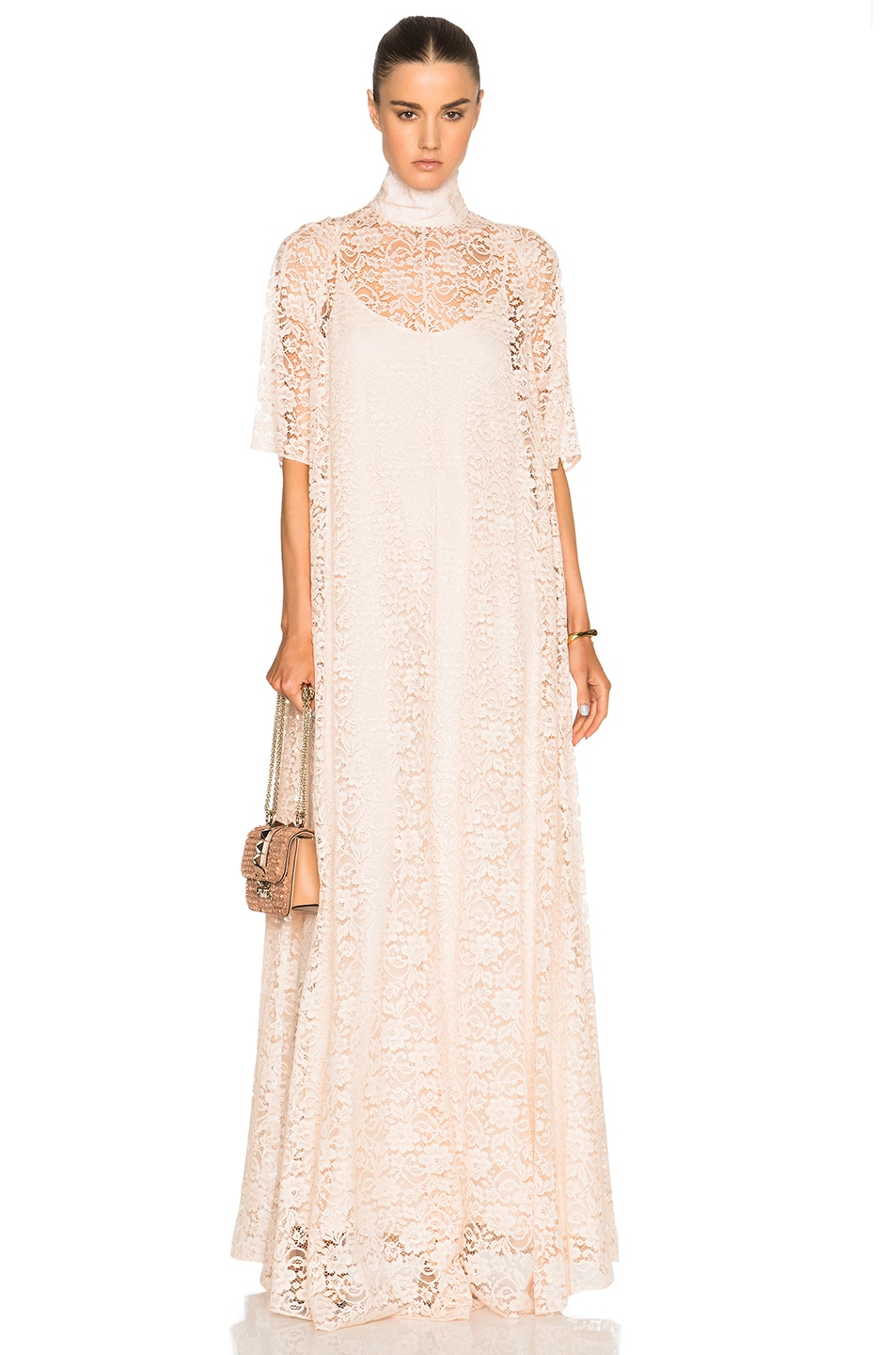 Image 1 of Ryan Roche French Lace Dress in Nude