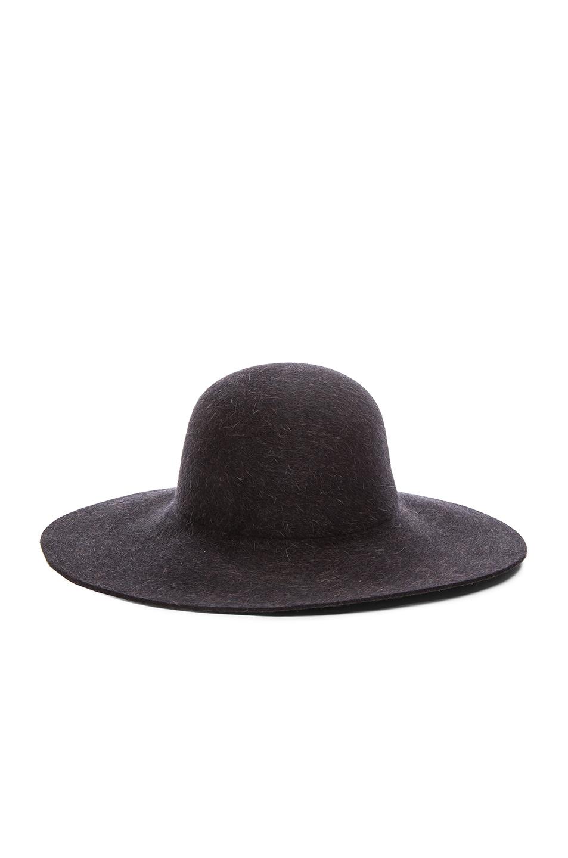 Image 1 of Ryan Roche Fur Felt Floppy Hat in Black