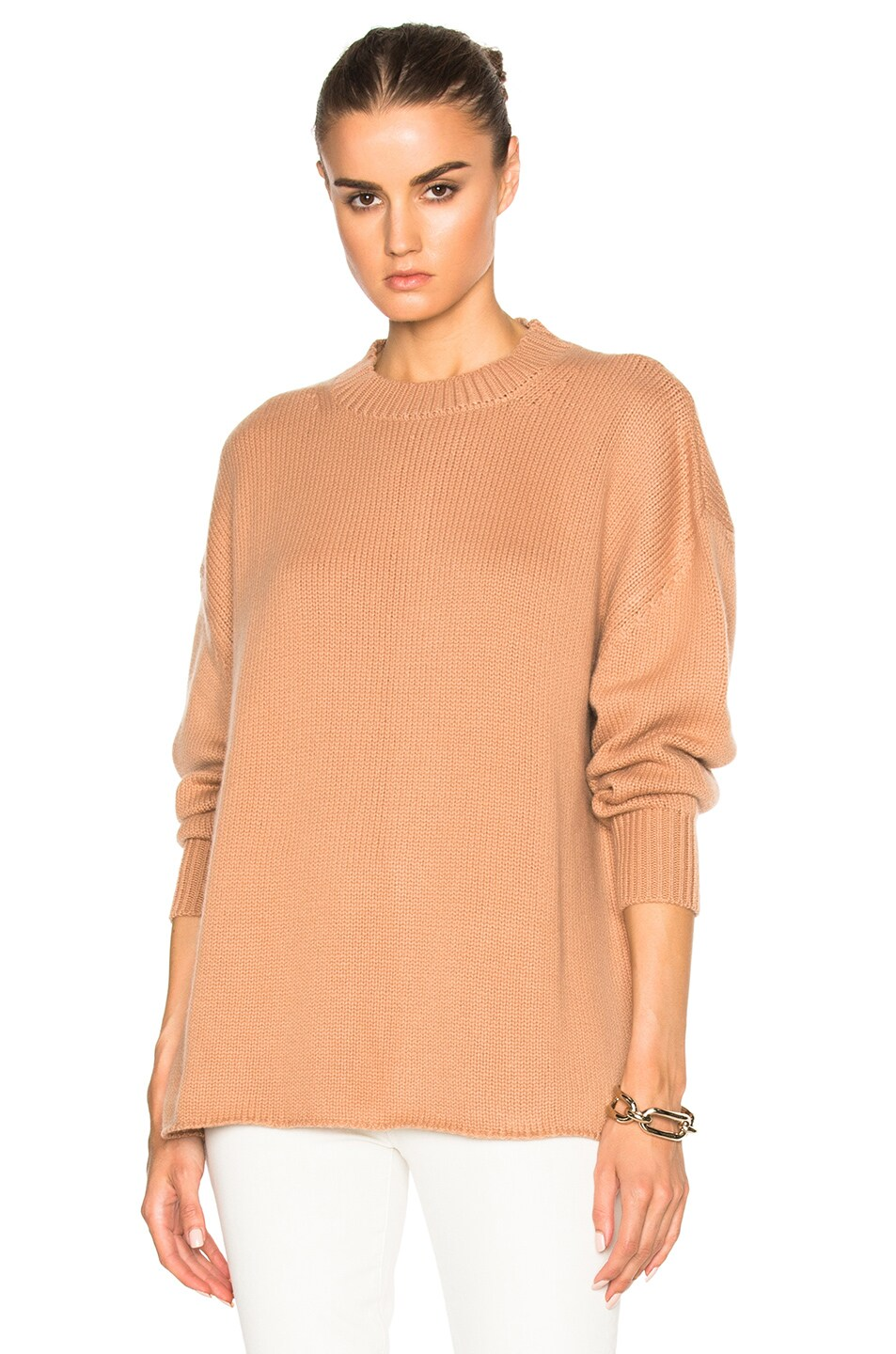 Image 1 of Ryan Roche Oversized Cashmere Sweater in Rose Sable