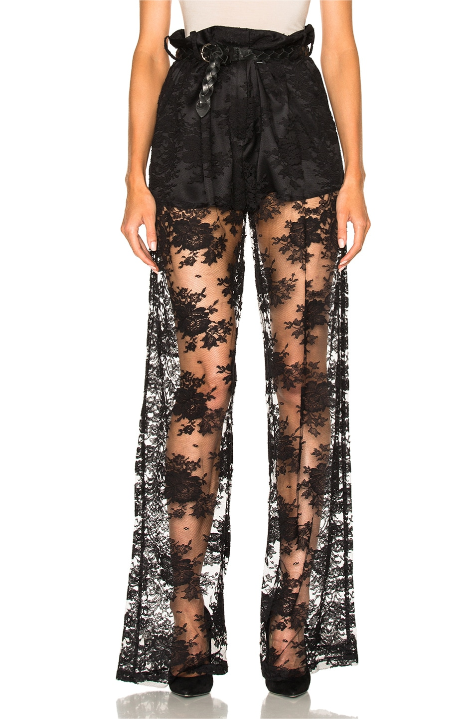 Image 1 of Ryan Roche Short Lined Lace Trouser Pant in Black