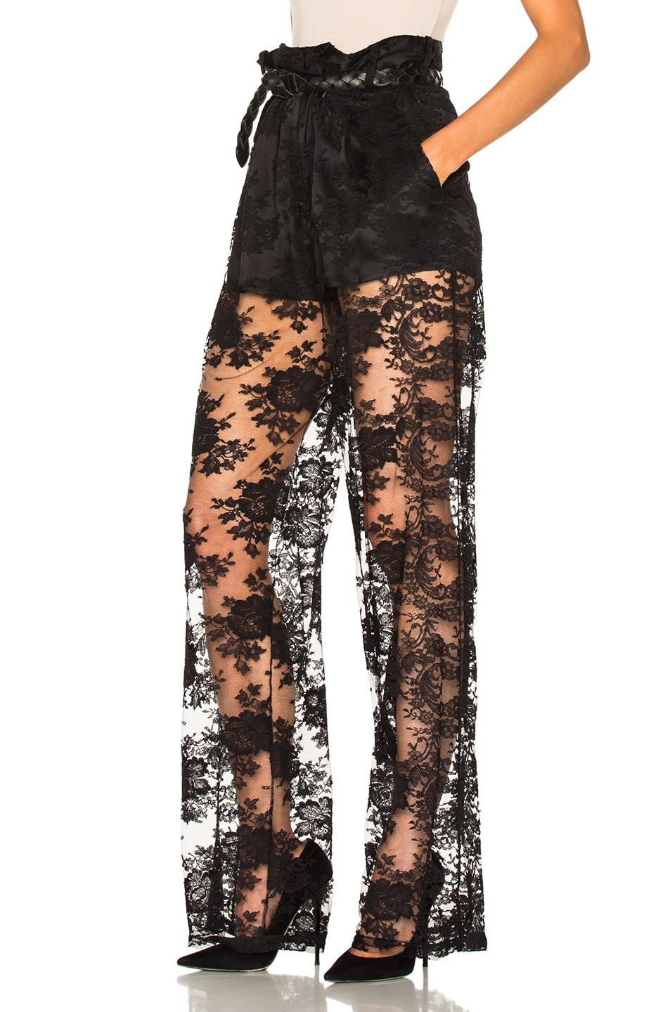 Image 2 of Ryan Roche Short Lined Lace Trouser Pant in Black