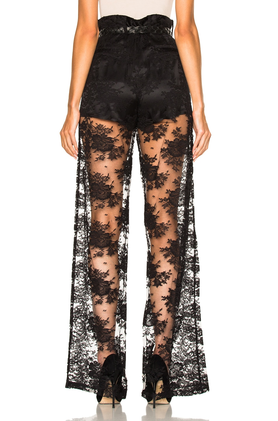 Image 4 of Ryan Roche Short Lined Lace Trouser Pant in Black