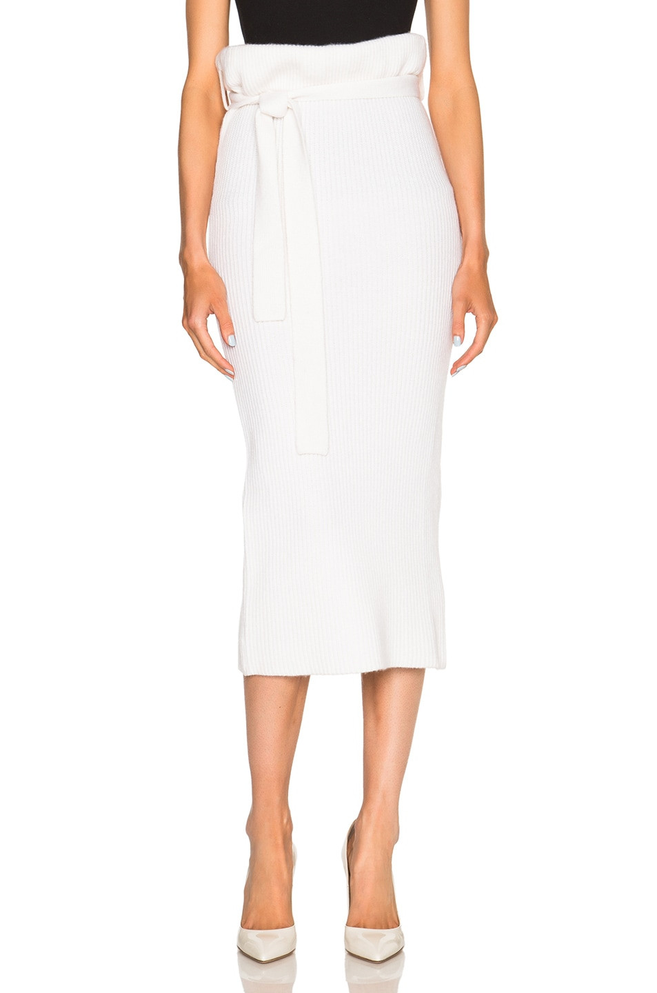 f2ef13889a6311 Image 1 of Ryan Roche Belted Cashmere Skirt in Chalk