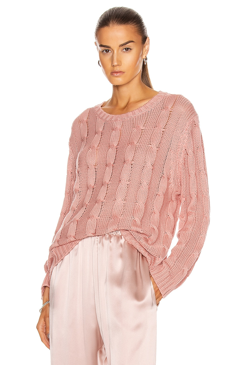 Image 1 of SABLYN Cassidy Long Sleeve Sweater in Cherry Blossom