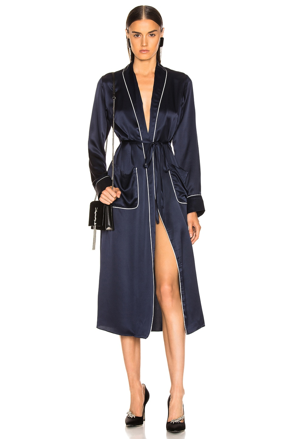 Image 1 of SABLYN Lucy Robe in Navy & White