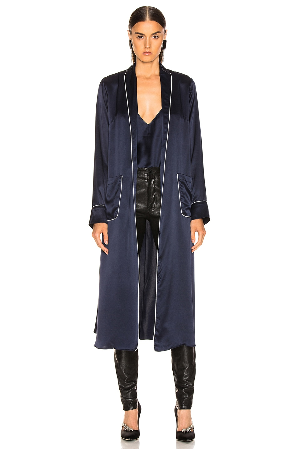Image 2 of SABLYN Lucy Robe in Navy & White