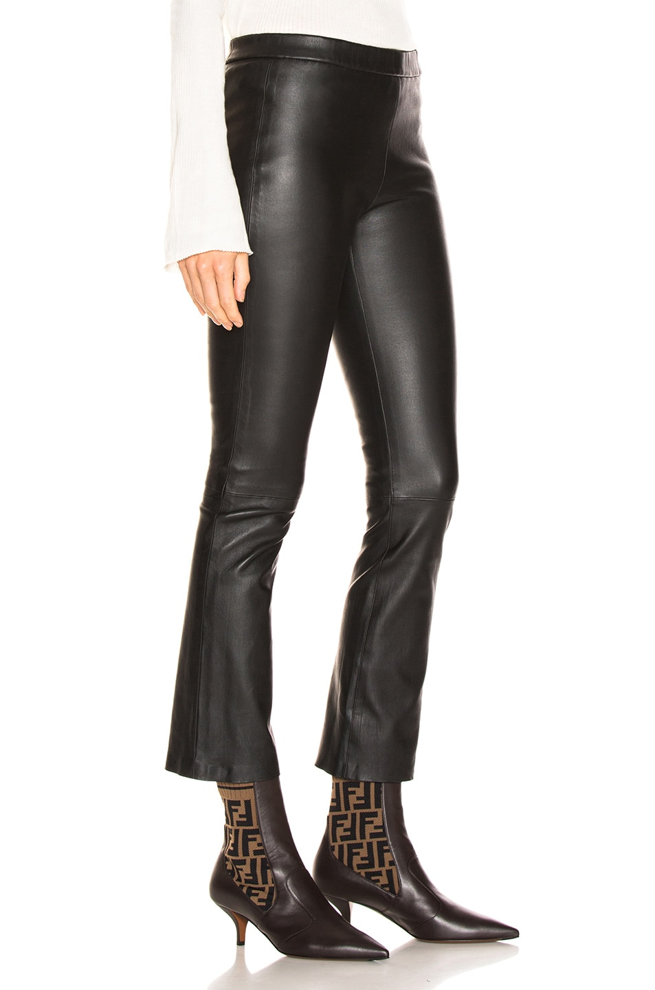 Image 2 of SABLYN Devon Cropped Leather Pants in Black