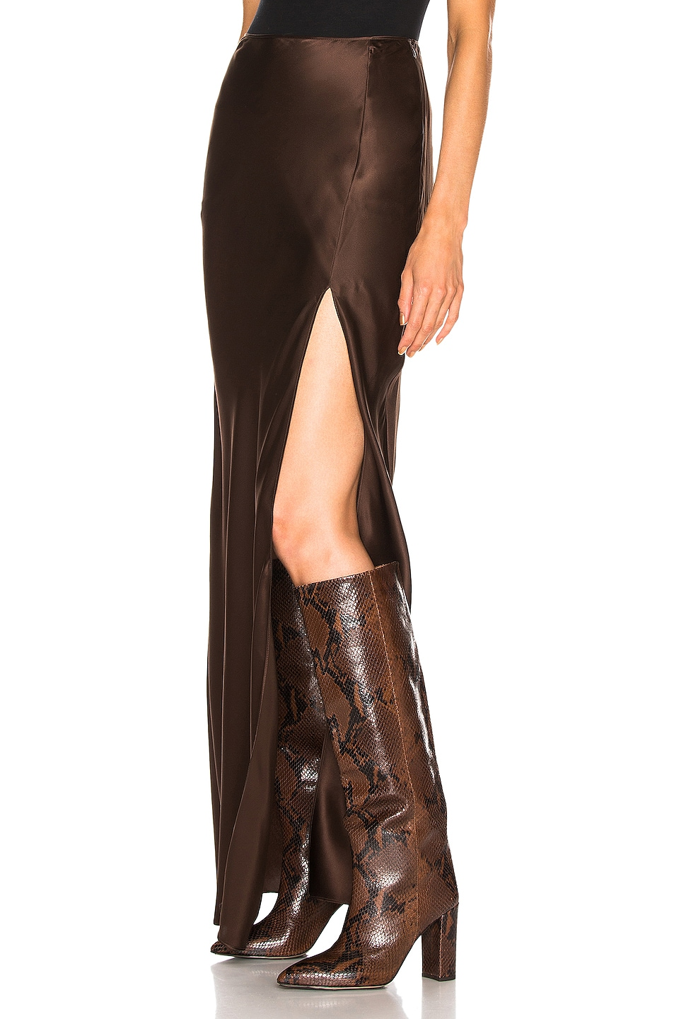 Image 3 of SABLYN Isabella Slit Skirt in Chocolate