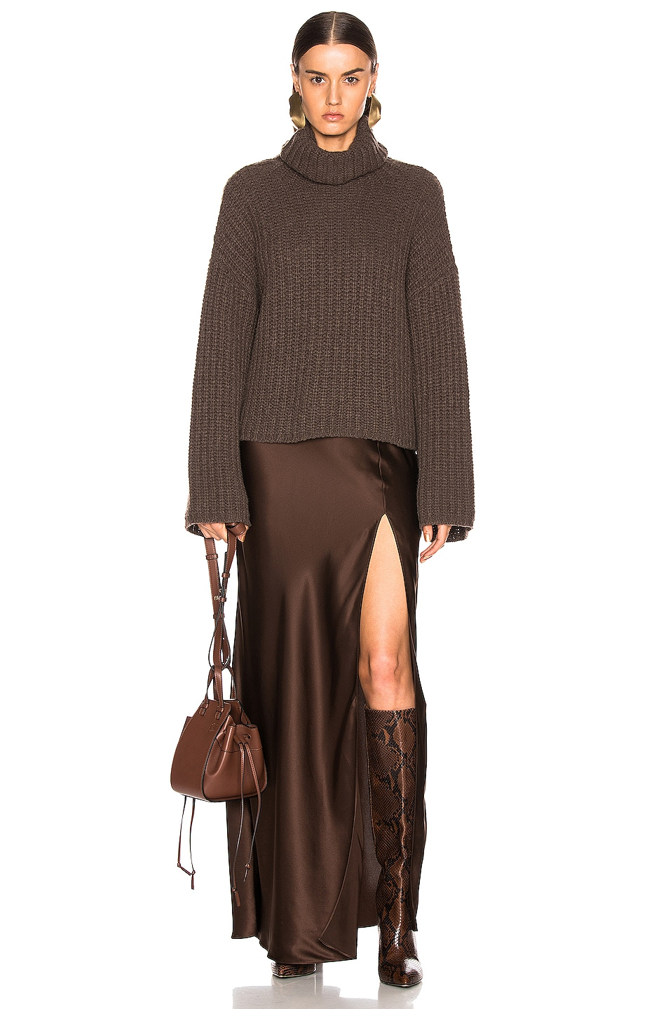 Image 5 of SABLYN Isabella Slit Skirt in Chocolate