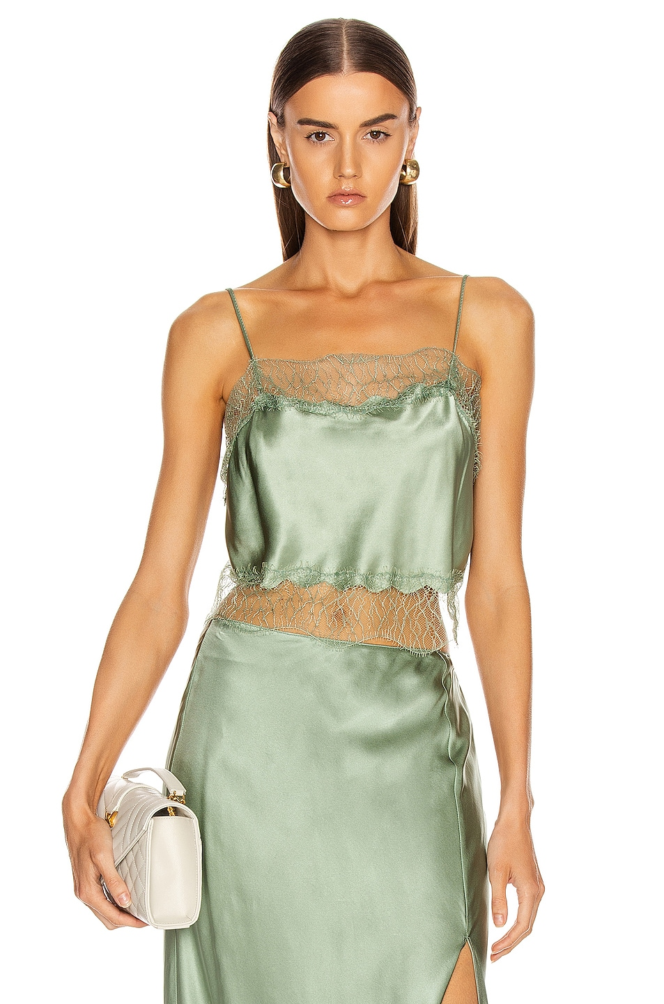 Image 1 of SABLYN Rose Lace Tank in Mint
