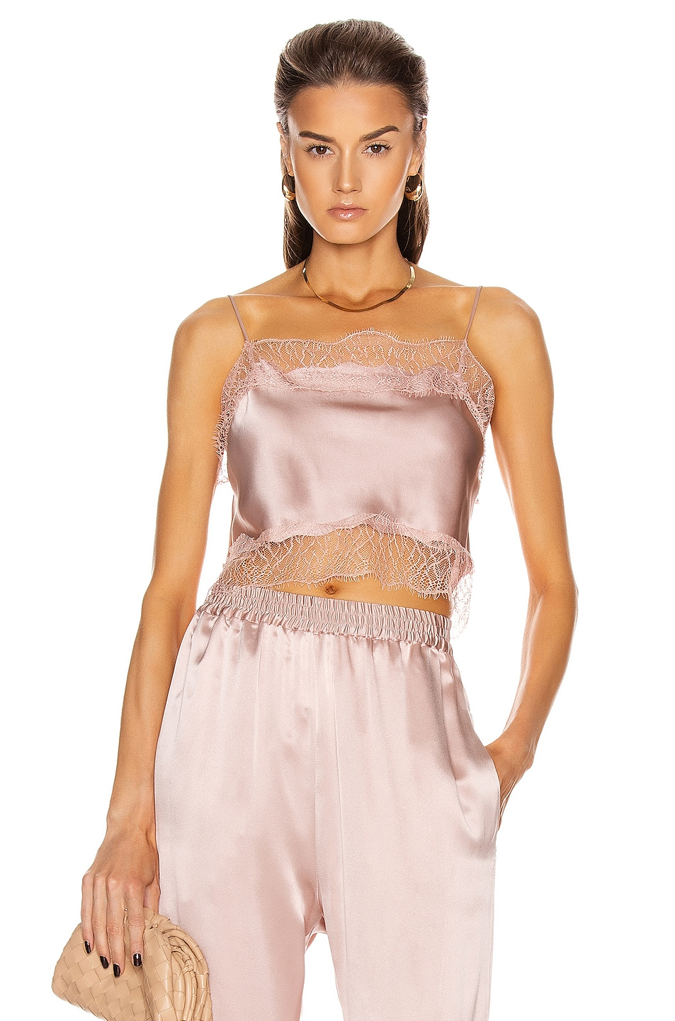Image 1 of SABLYN Rose Lace Crop Tank Top in Cherry Blossom