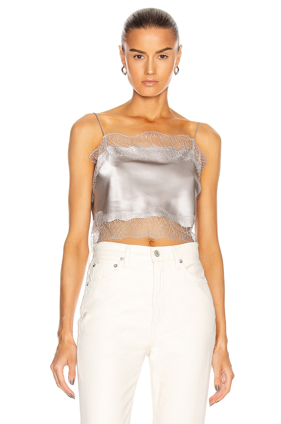 Image 1 of SABLYN Rose Lace Crop Tank Top in Pebble