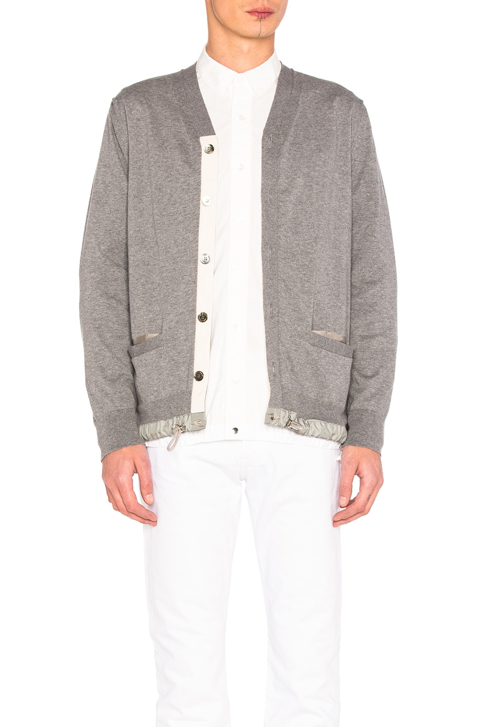 df7e178b68 Image 1 of Sacai Cotton Cashmere Knit Cardigan in Light Grey