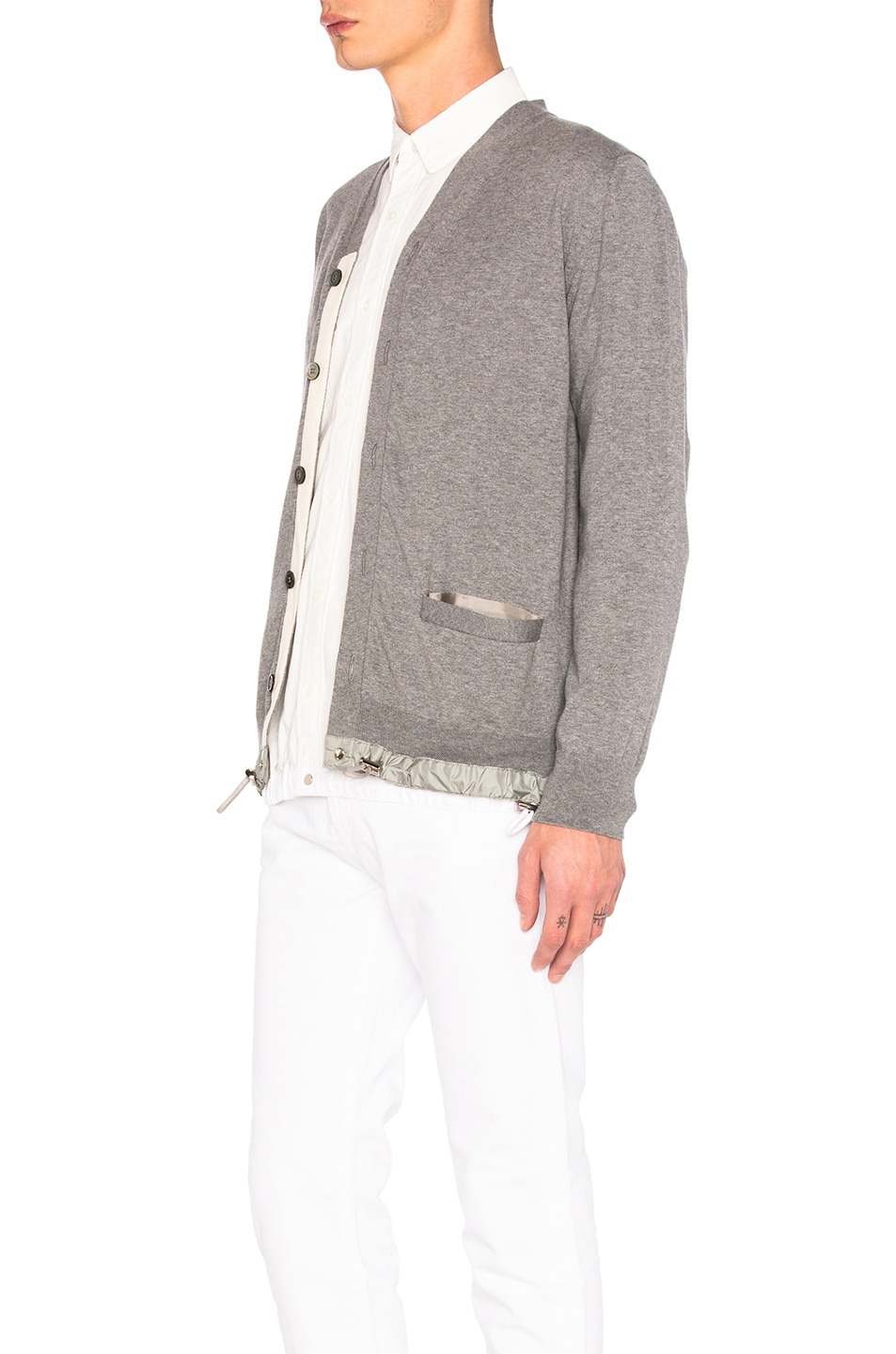 3fad32836a Image 3 of Sacai Cotton Cashmere Knit Cardigan in Light Grey