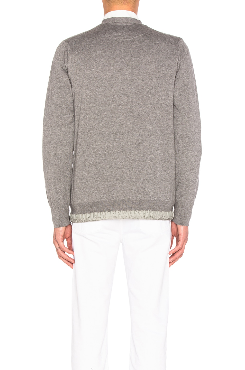 a87a3c63c2 Image 5 of Sacai Cotton Cashmere Knit Cardigan in Light Grey