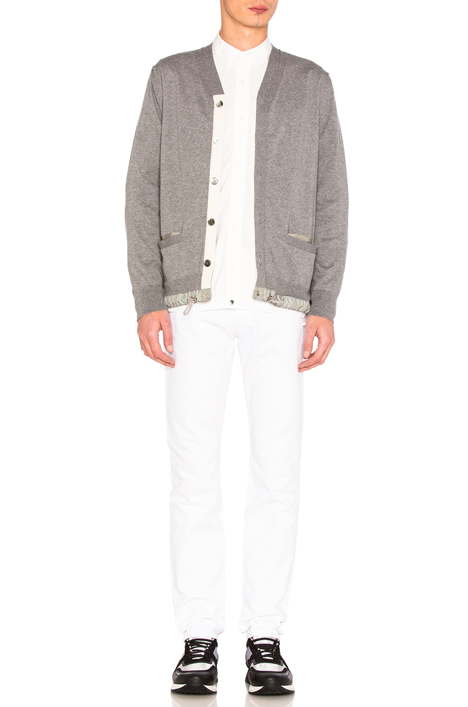94b2eae10f Image 6 of Sacai Cotton Cashmere Knit Cardigan in Light Grey