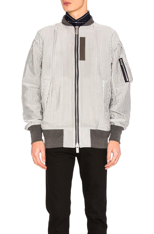 Image 1 of Sacai Hickory Stripe Blouson in Black & Off White