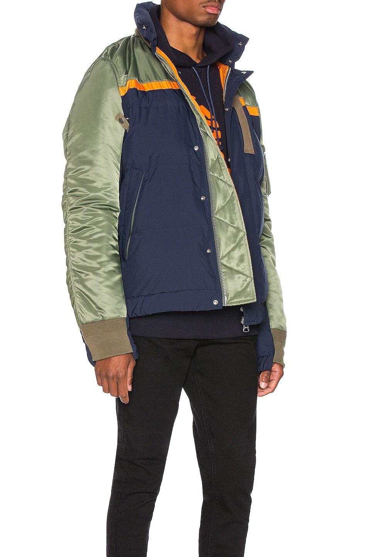 Image 3 of Sacai Nylon Twill Down Jacket in Khaki & Navy