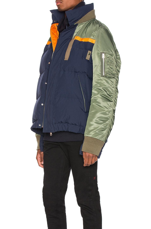 Image 4 of Sacai Nylon Twill Down Jacket in Khaki & Navy