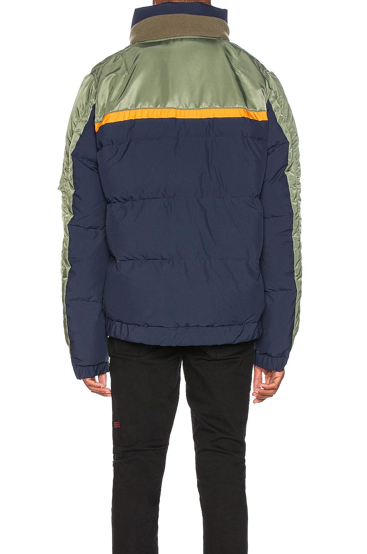 Image 5 of Sacai Nylon Twill Down Jacket in Khaki & Navy
