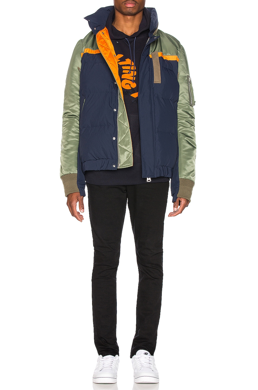 Image 6 of Sacai Nylon Twill Down Jacket in Khaki & Navy