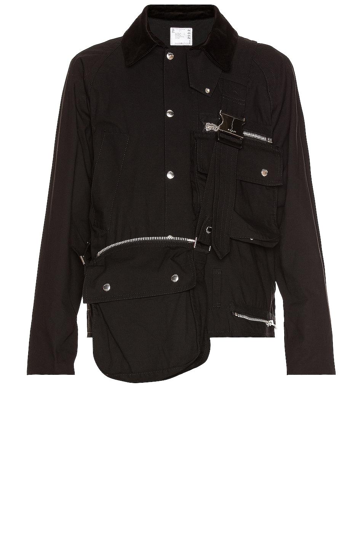Image 1 of Sacai Cotton Oxford Blouson in Black