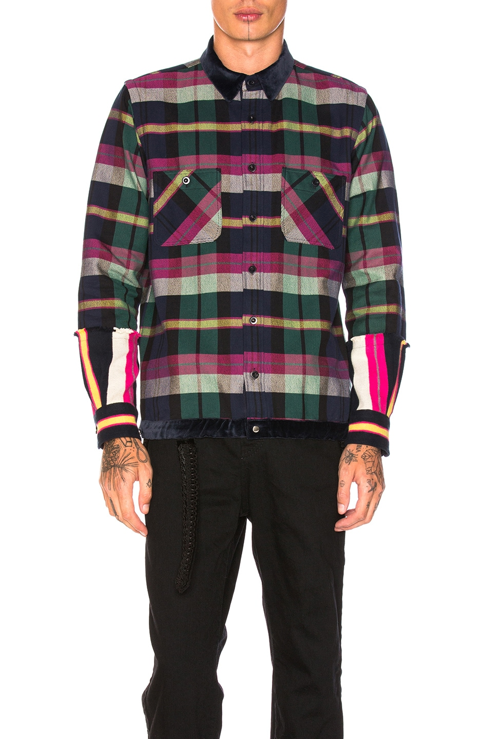 Image 1 of Sacai Double Faced Flannel Shirt in Navy, Off White & Pink