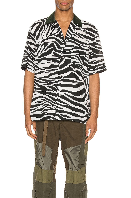 Image 1 of Sacai Zebra Print Shirt in White & Black