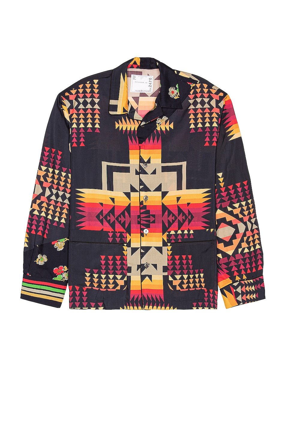 Image 1 of Sacai Archive Mix Print Shirt in Navy & Red