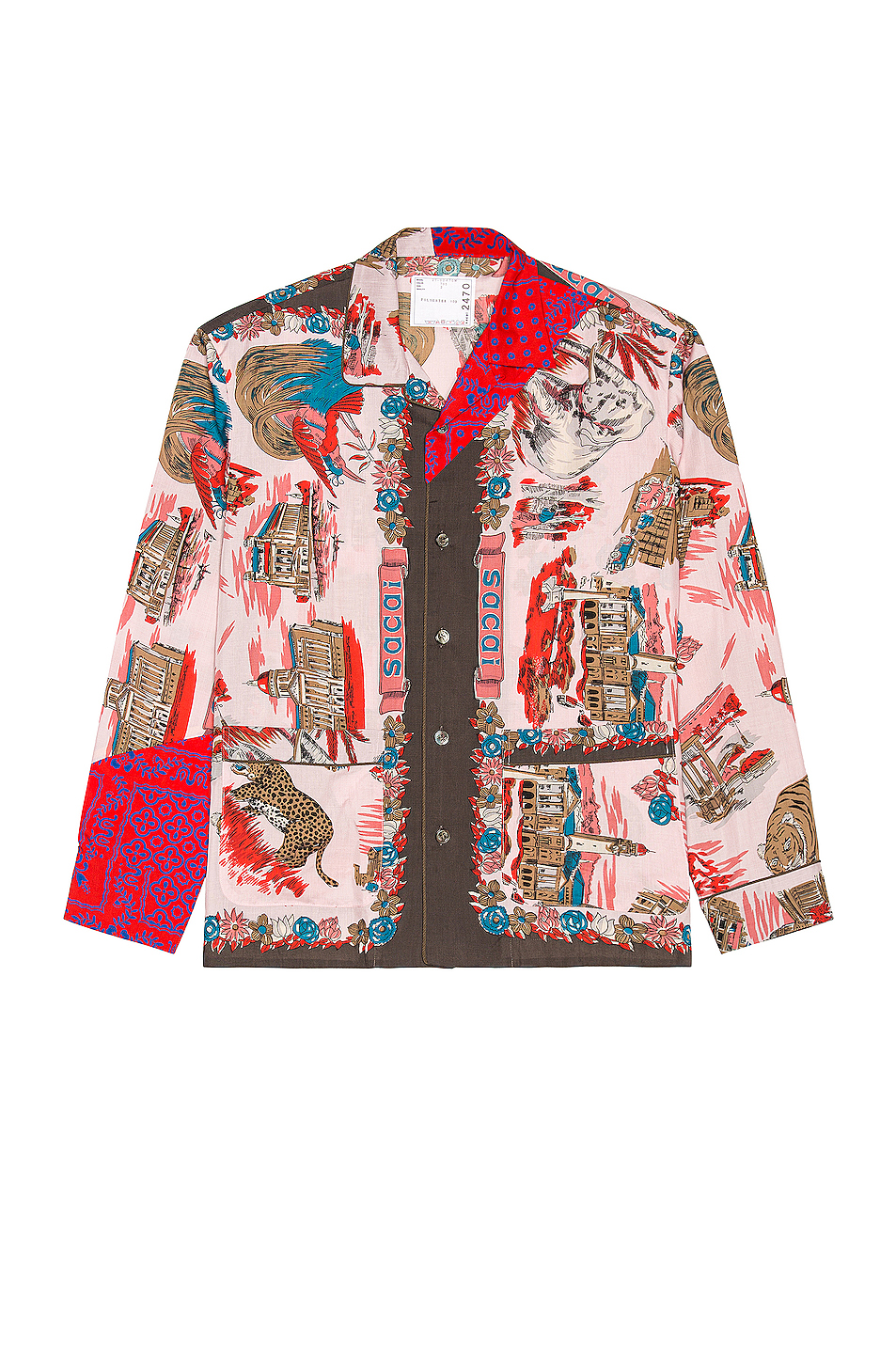 Image 1 of Sacai Archive Print Mix Shirt in Pink & Red