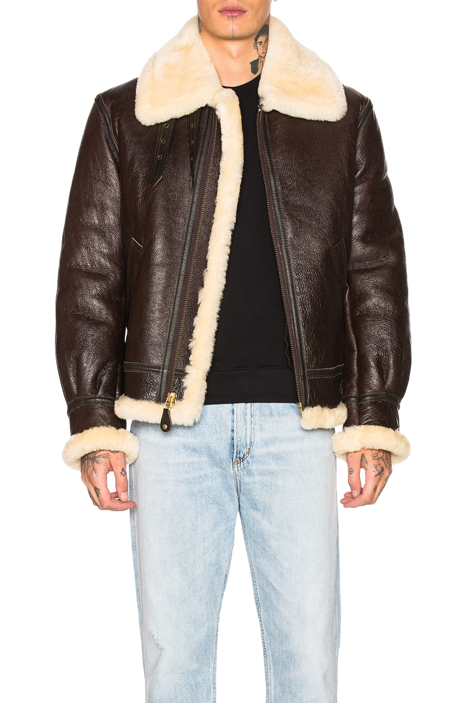 Image 1 of Schott B-3 Sheepskin Leather Bomber Jacket in Brown