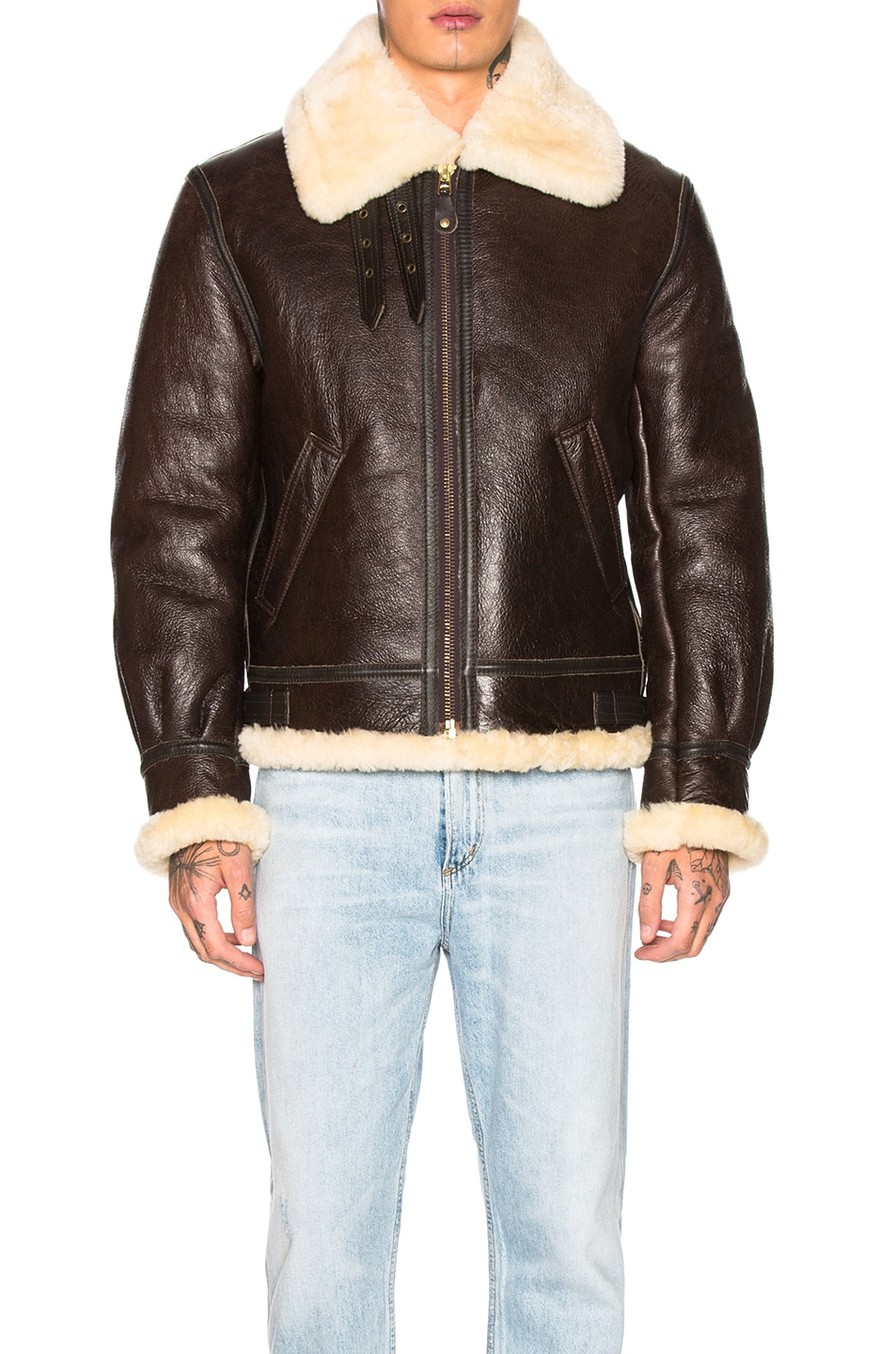 Image 2 of Schott B-3 Sheepskin Leather Bomber Jacket in Brown