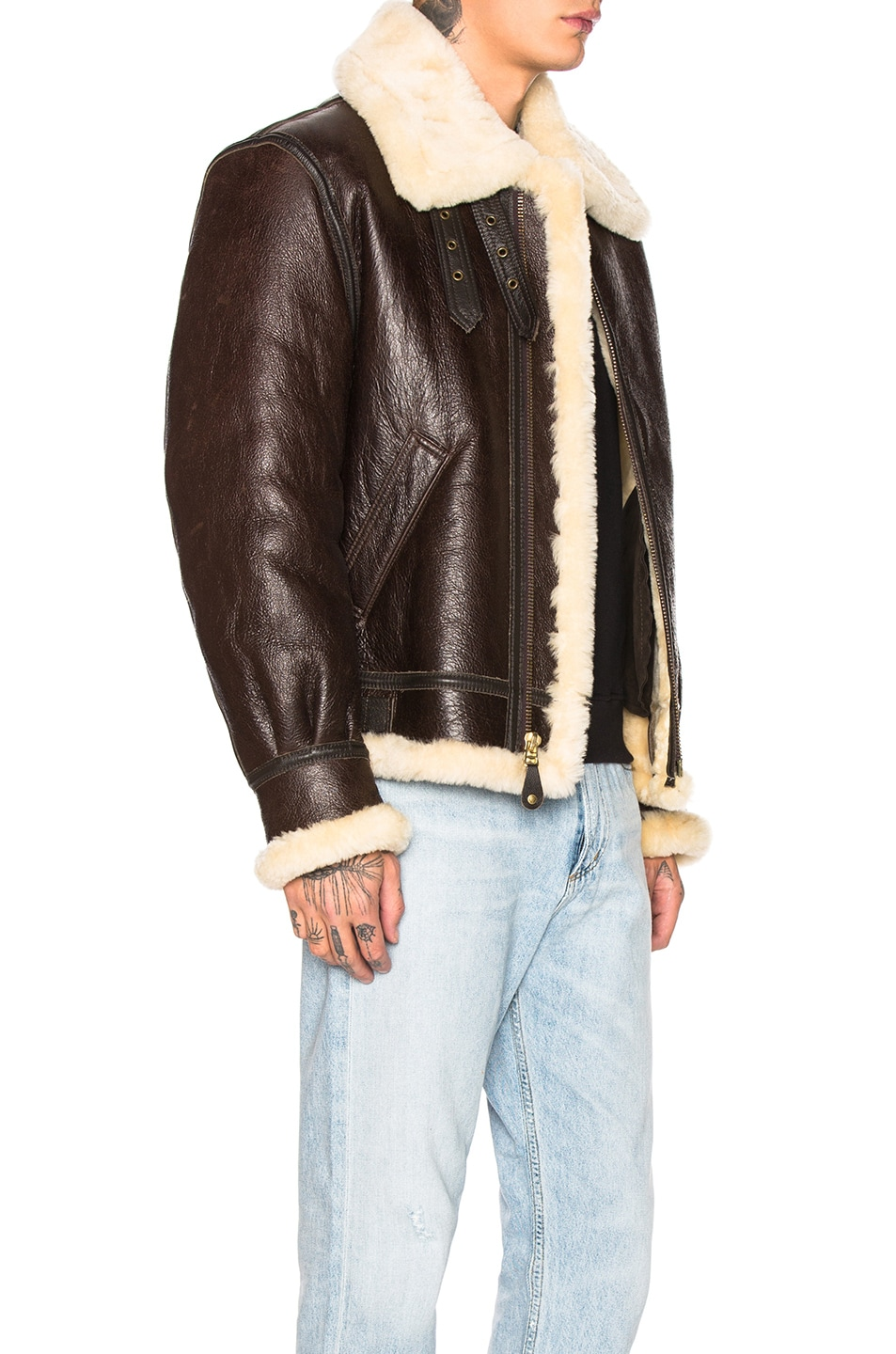 Image 3 of Schott B-3 Sheepskin Leather Bomber Jacket in Brown