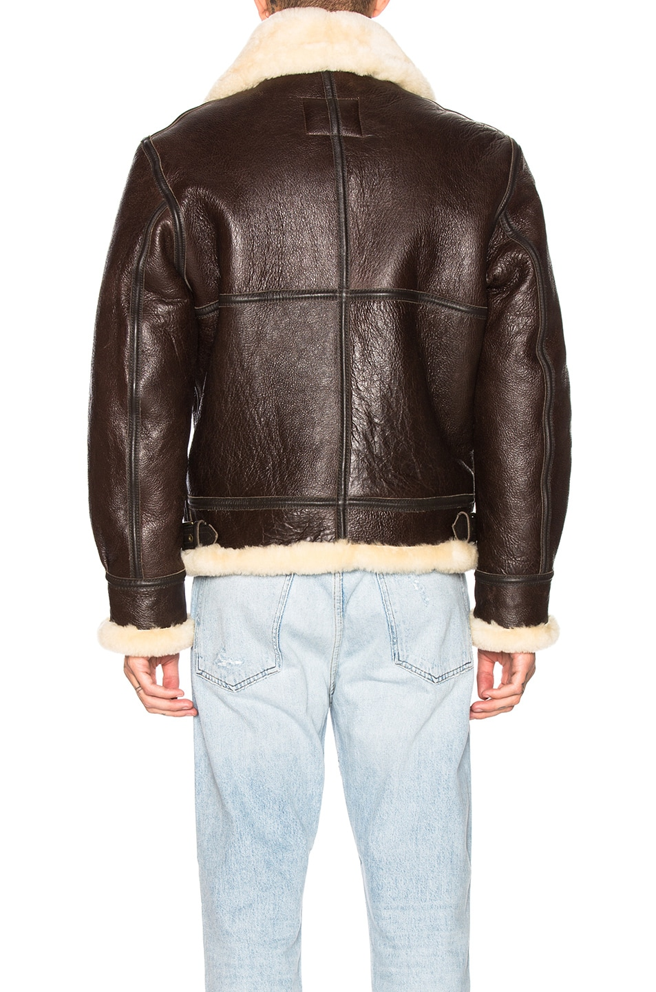 Image 4 of Schott B-3 Sheepskin Leather Bomber Jacket in Brown