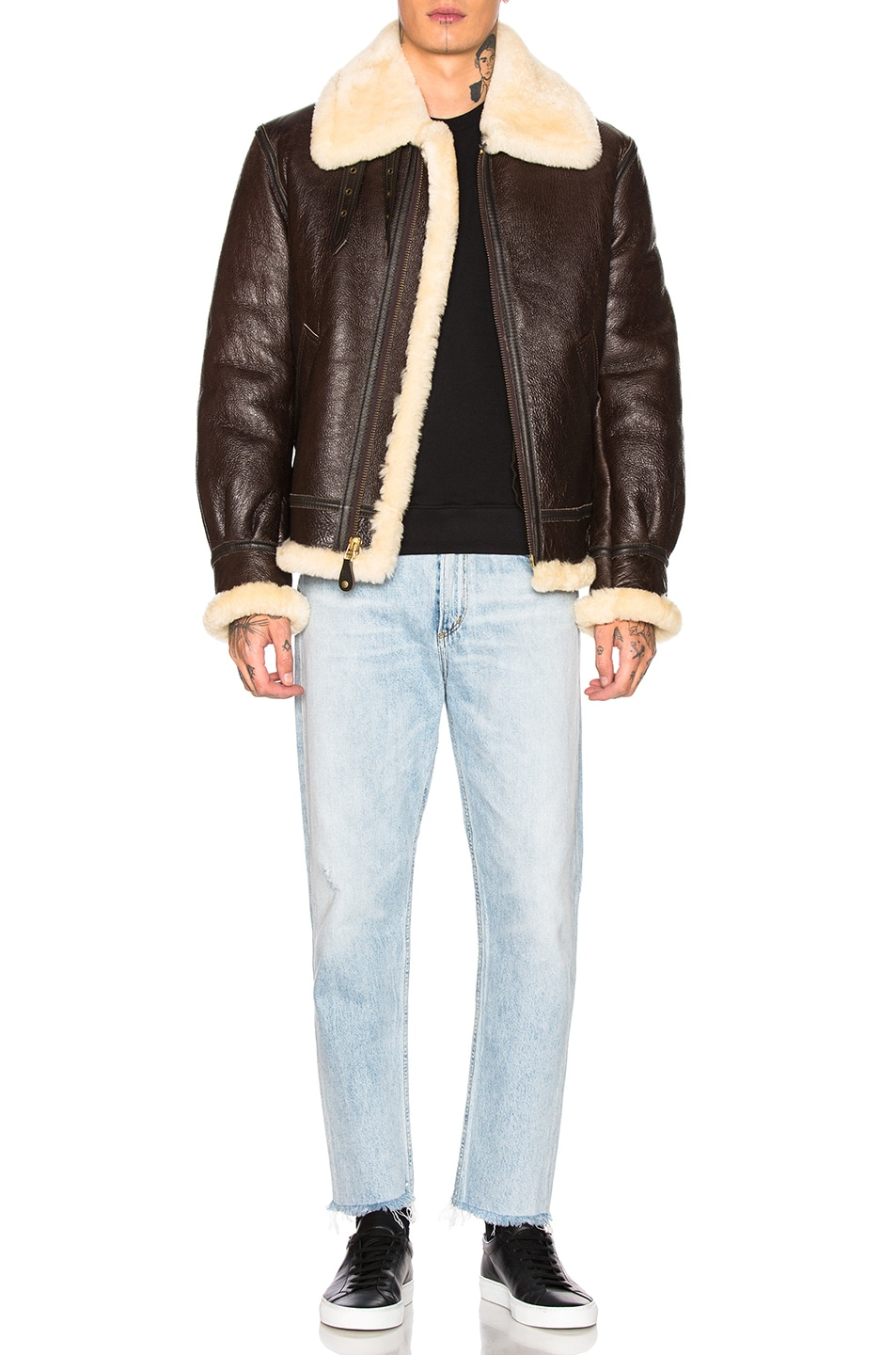Image 5 of Schott B-3 Sheepskin Leather Bomber Jacket in Brown