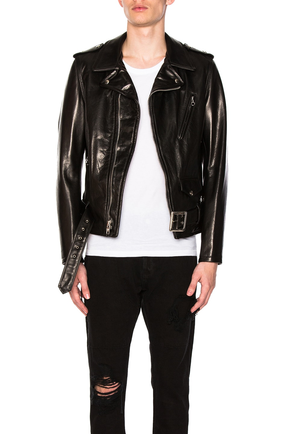 Image 1 of Schott Pebbled Moto Jacket in Black