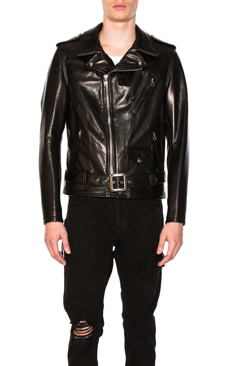 Image 2 of Schott Pebbled Moto Jacket in Black