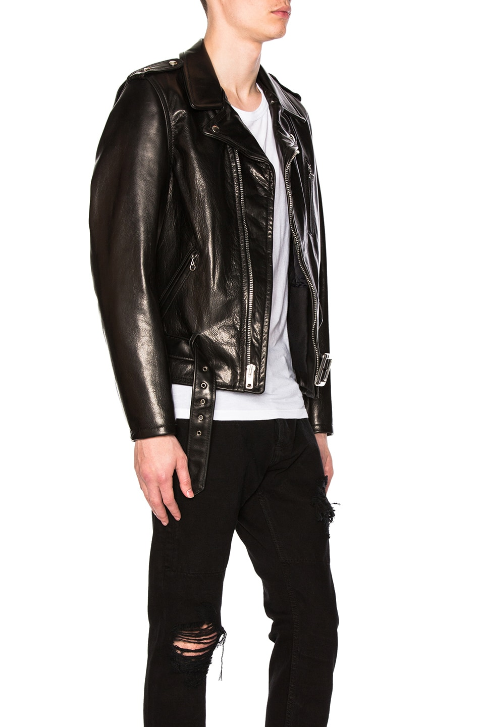 Image 3 of Schott Pebbled Moto Jacket in Black