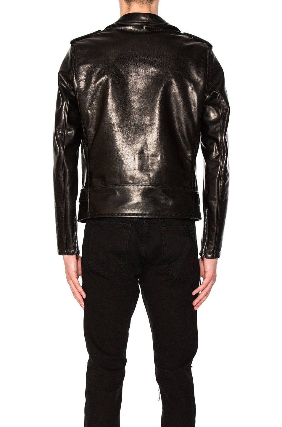 Image 4 of Schott Pebbled Moto Jacket in Black