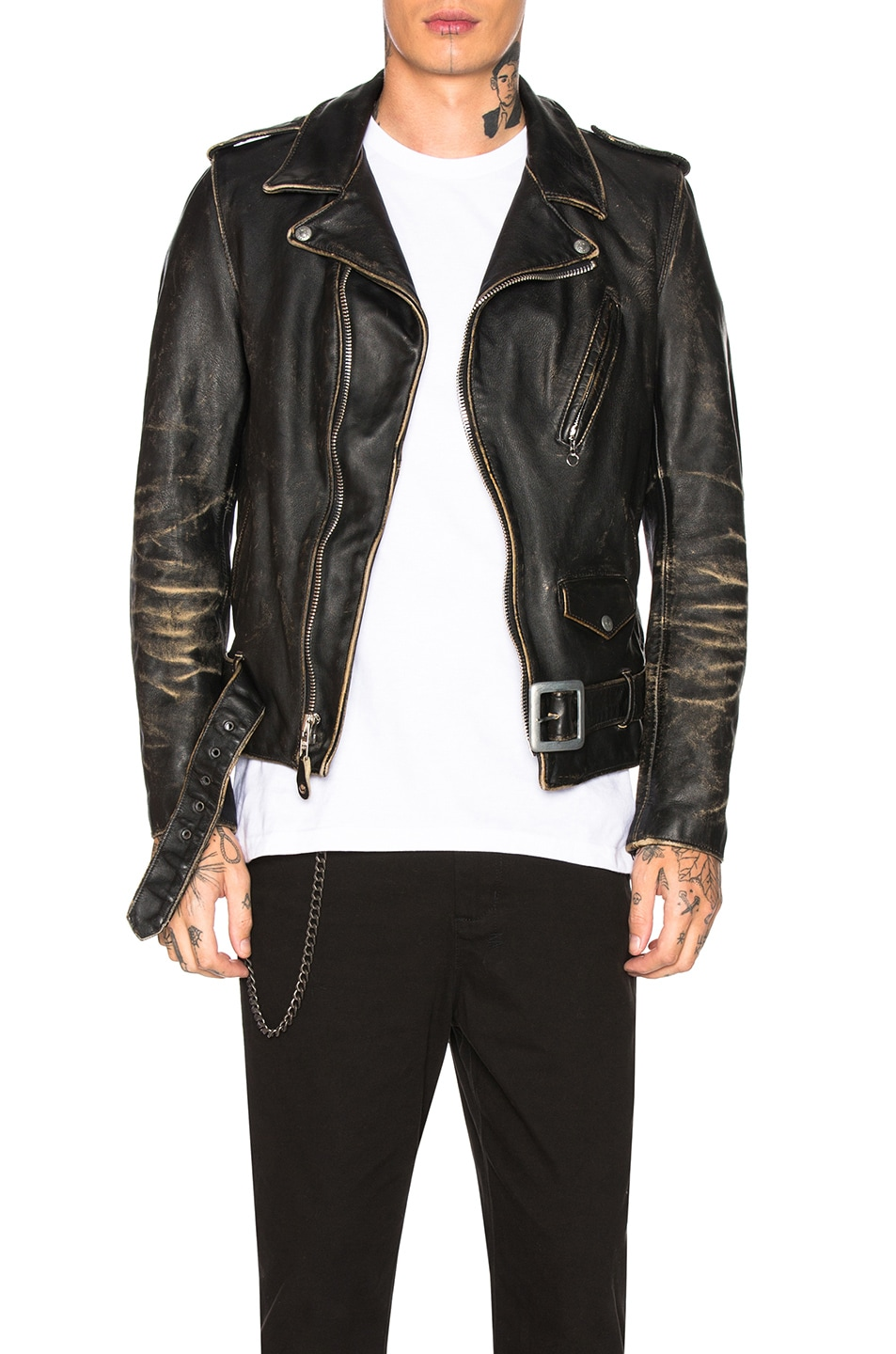 Image 1 of Schott Vintage Fitted Perfecto Jacket in Black
