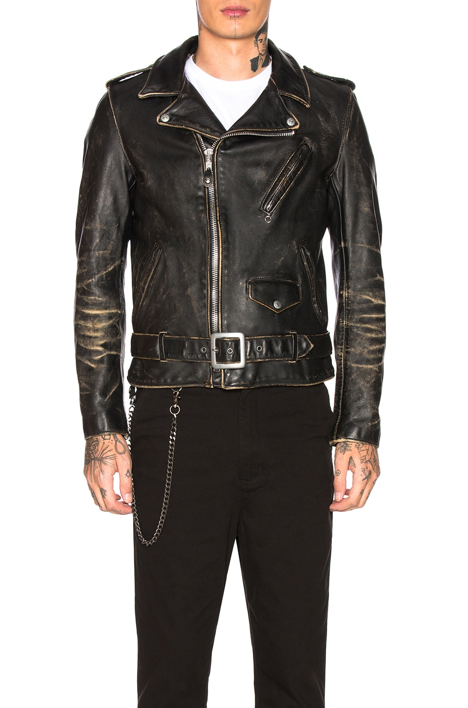 Image 2 of Schott Vintage Fitted Perfecto Jacket in Black