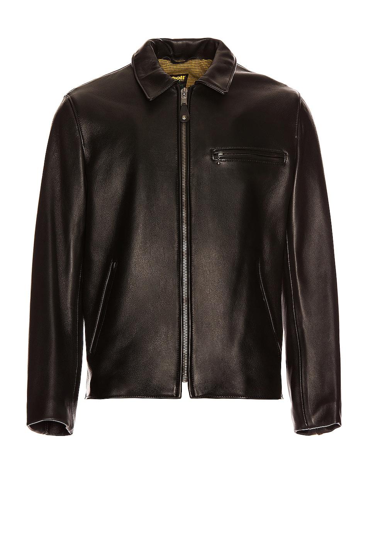 Image 1 of Schott Collar Lamb Leather Jacket in Black