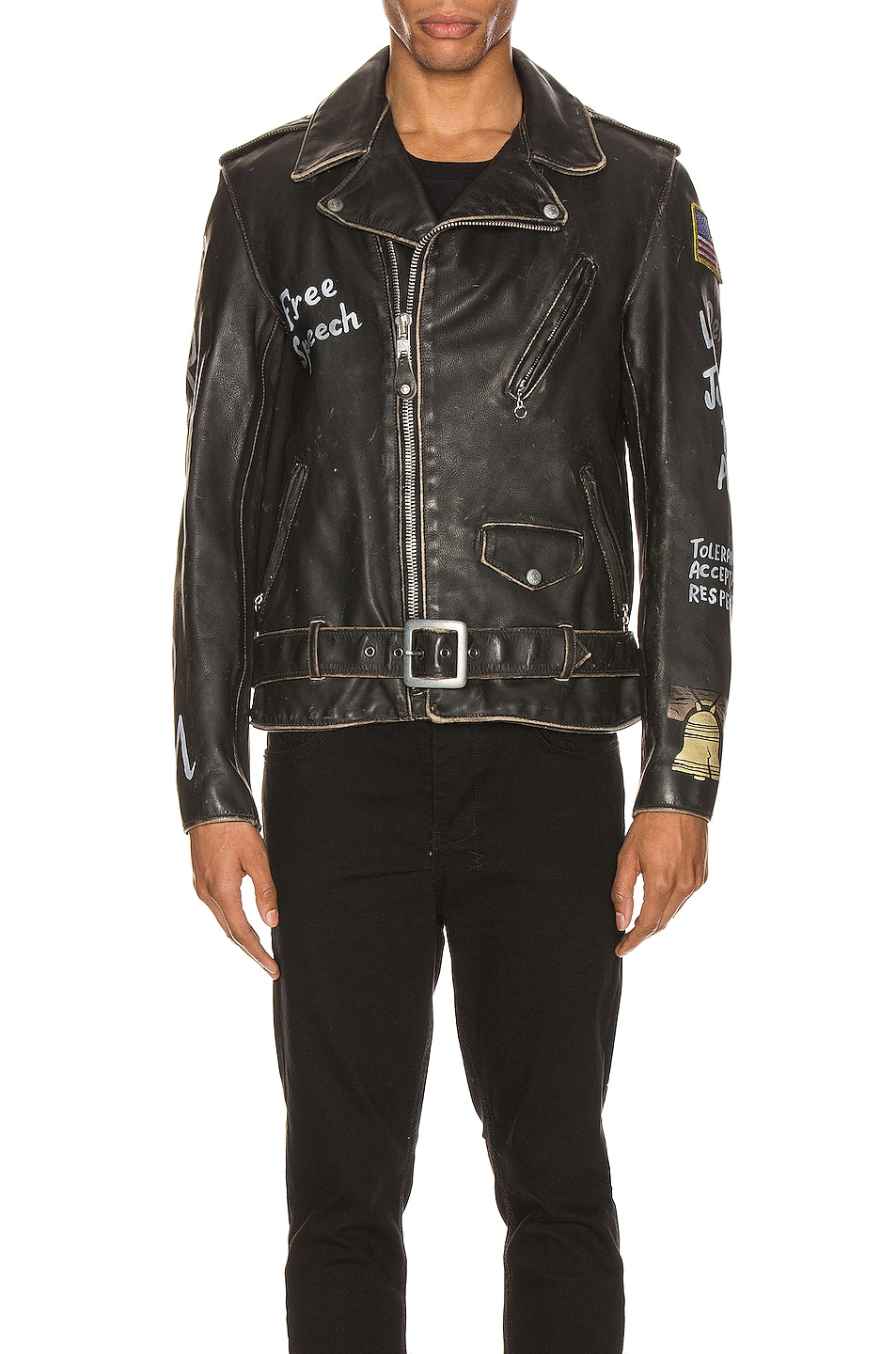 Image 2 of Schott PER74 Hand Painted Vintage Perfecto Jacket in Black