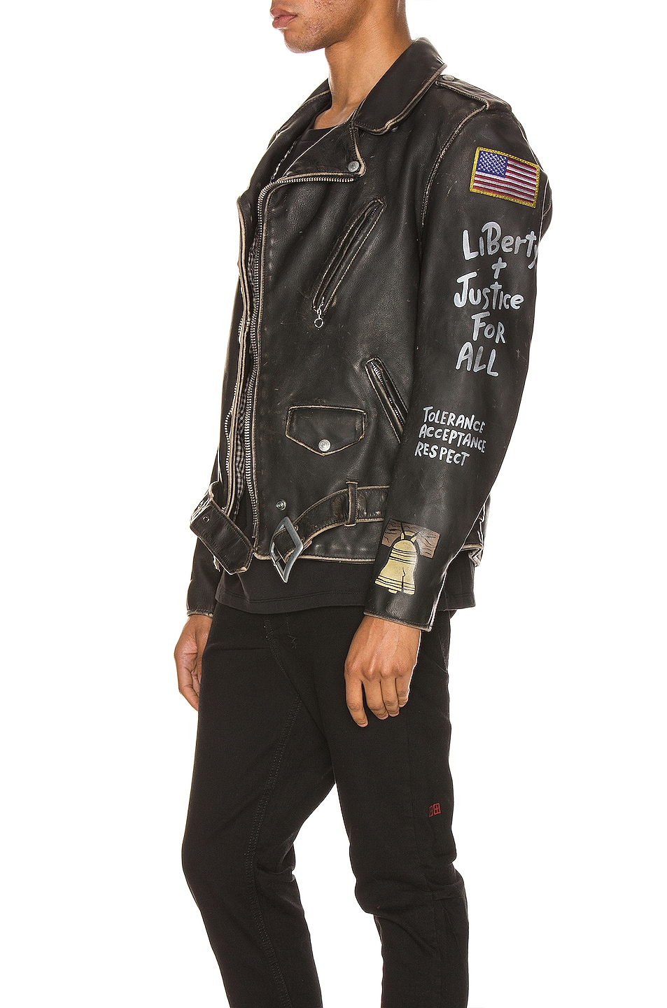 Image 4 of Schott PER74 Hand Painted Vintage Perfecto Jacket in Black