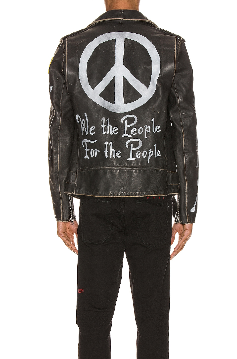 Image 5 of Schott PER74 Hand Painted Vintage Perfecto Jacket in Black