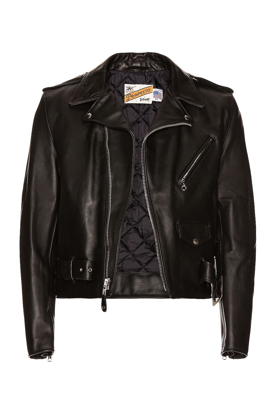 Image 1 of Schott One Star Perfecto Moto Jacket in Black