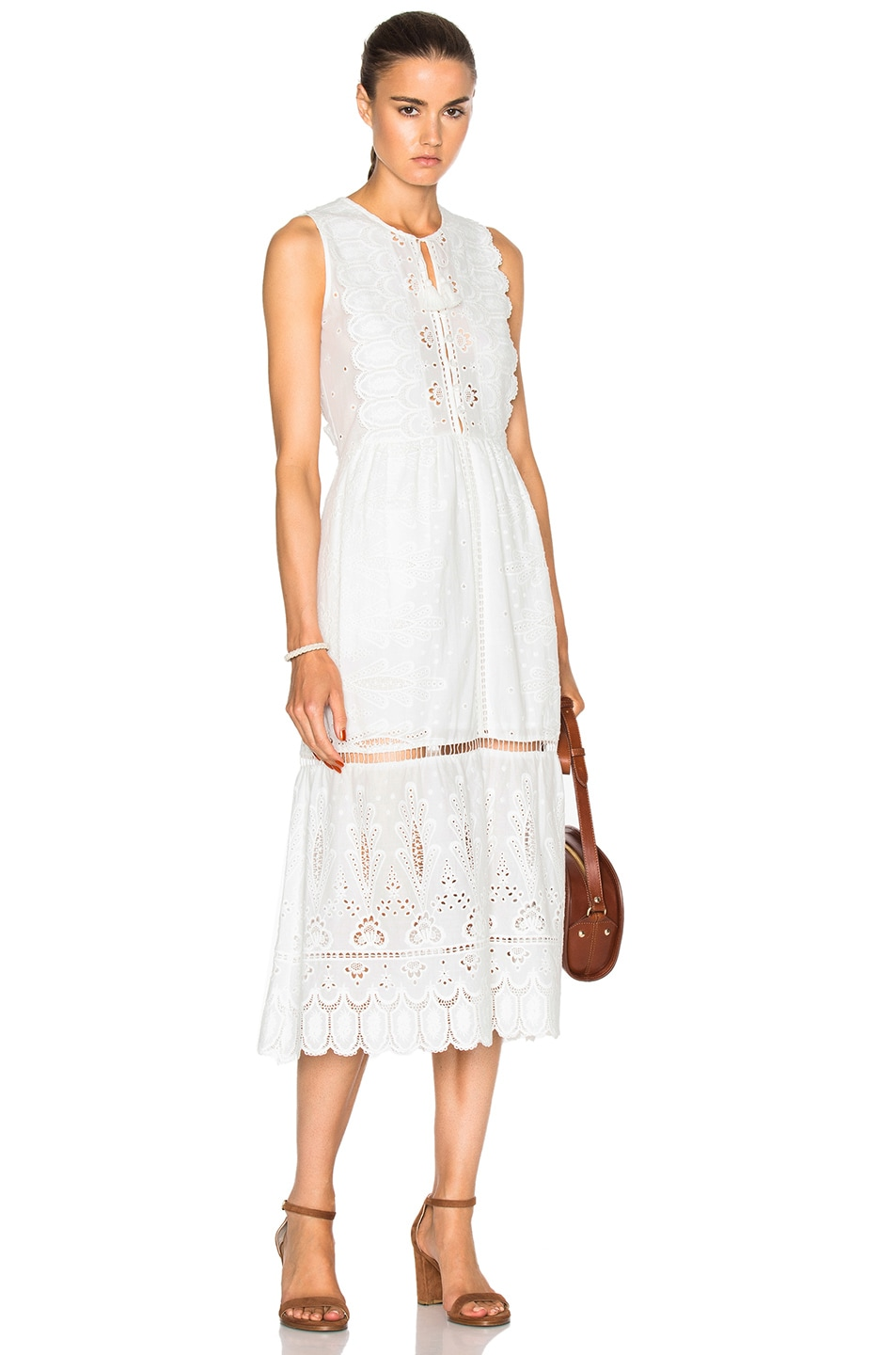 5e922690b0f8 Image 1 of Sea Floral Eyelet Maxi Dress in White