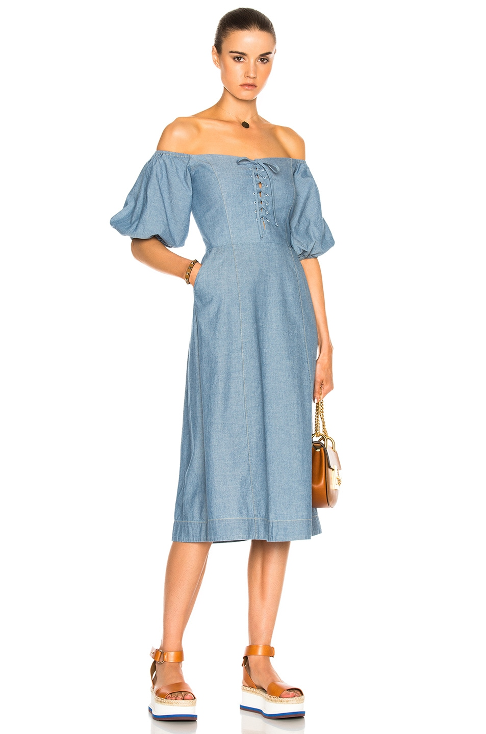 Image 1 of Sea Lace Up Maxi in Blue